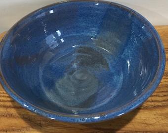 large blue bowl - ceramic bowl-pottery- serving bowl- handmade-  bowl-