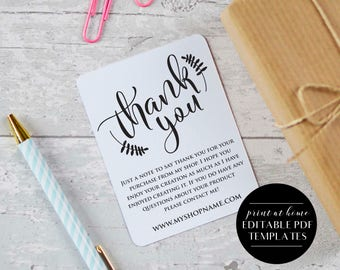 Thank you editable template etsy seller thank you cards etsy seller thank you cards instant download etsy shop printables printable packaging cards reheart Choice Image