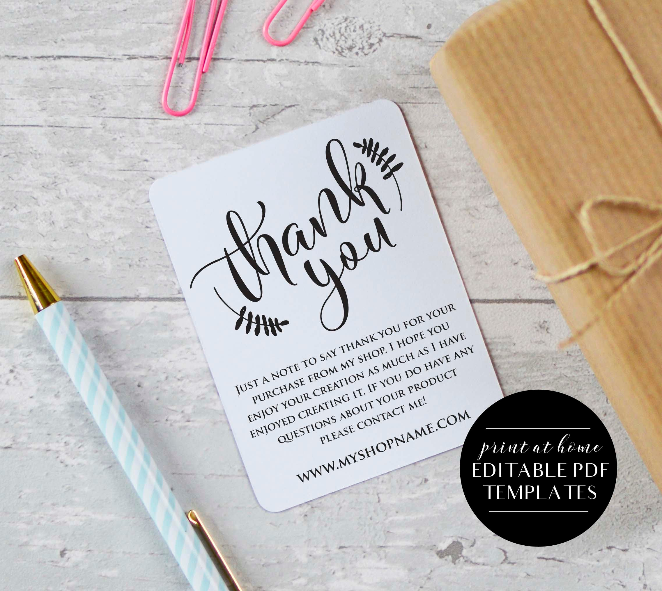 Etsy Seller Thank You Cards INSTANT DOWNLOAD Etsy Shop