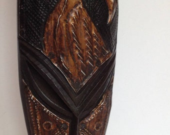 FREE SHIPPING - Hand Carved Wood Mask - Metal Overlay - 6