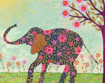 Elephant Painting, Collage Elephant Art Print, Nursery Art, Jungle Nursery Decor, Indian Elephant, Bohemian Elephant, Bohemian Decor