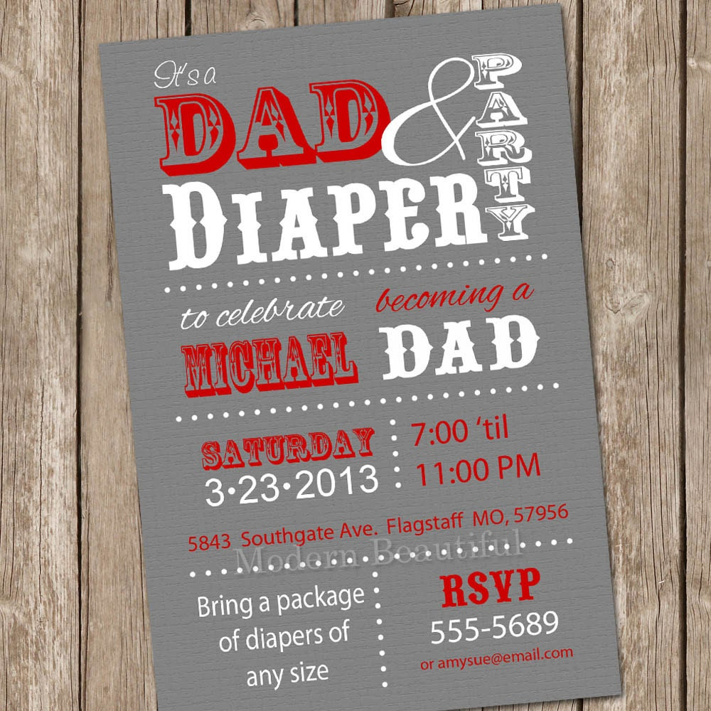 Magnificent daddy baby shower invitations pictures inspiration dad baby shower invitation diaper baby shower invitation red filmwisefo Images