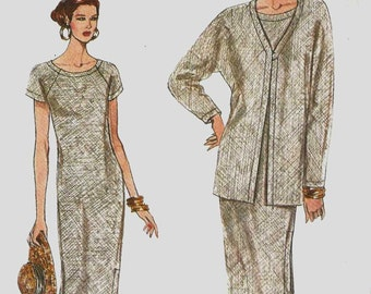 Sewing Pattern Vogue 8910 Cardigan style jacket kimono sleeves loose fit raglan sleeve dress wide round neck Size 12-14-16 (uncut)