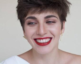 Alison Earrings, gold post earrings, geometric gold earrings,minimalist gold earrings, gold Statement earrings, contour studio