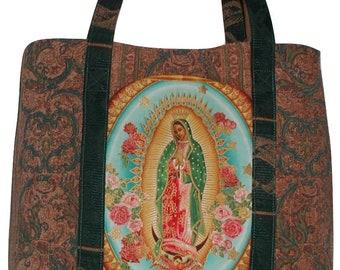 Catholic Purse, Virgin Mary Tote Bag, Catholic Travel Bag, Tote Bag With Virgin Mother Mary, Virgin Mary Travel Bag, Blessed Mother Tote Bag