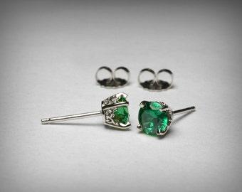 Simulated Emerald Earrings, 14K White Gold, Green CZ Earrings, Green Imitation Emerald Stud Earrings, May Birthstone, Stud 14K Post Earrings