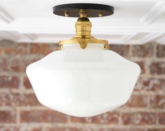 Schoolhouse Fixture - Opal Ceiling Light - Light Fixtures - Mounted Lamp - Mid Century Opal Glass