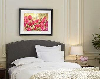 rose art | rose paintings | floral watercolor painting of Pink Peonies flowers print | coral bright pink yellow | floral print |  PRINT