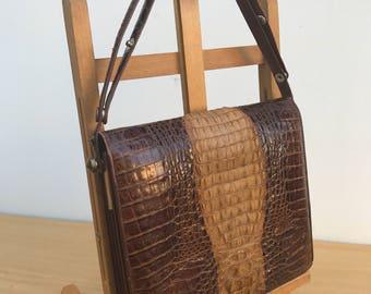 Thailand + handle adjustable Vintage embossed Croc handbag