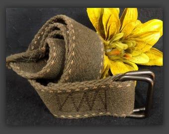 Brown D ring Belt - canvas belt - brown Cotton belt -wide pants belt men - small waisted belt -2 wide belt  -size up to 30 belt - # 61