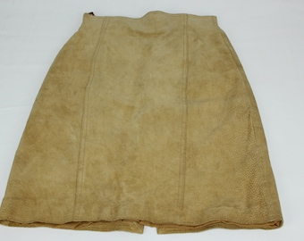 Split End Ltd Women's Size 5 6 Vintage Tan Suede Leather Pencil Skirt