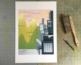 Exit 17, art print, 13x19, cityscape, mountains
