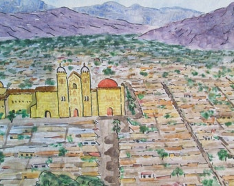 """Oaxaca, Mexico - a print 11x14"""" of my water color paining showing downtown Oaxaca and the cathedral, Free shipping in the US"""