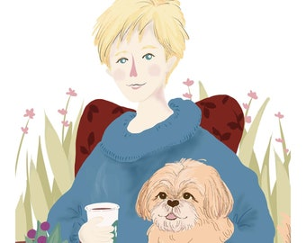 Custom Illustration custom portrait,family portrait with Pets, Personalized Gift Digital or Print