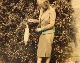 Vintage Snapshot Photo Old Lady Posing with Dead Fish 1940's, Original Found Photo, Vernacular Photography