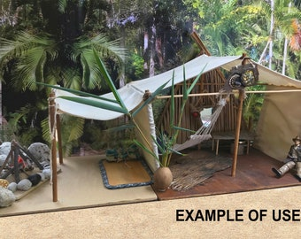 Miniature Safari/expedition tent flat-pack craft kit; vintage off-white canvas look; castaway play; superhero play;  Rainy day activity.