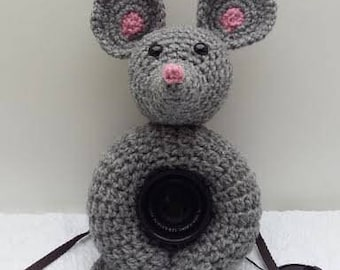 Camera Cover, Photographer Equipment, Photographer Accessory, Lens Buddy Mouse, Stuffed Mouse, Lens Buddy for taking baby pictures