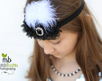 Black headband, Baby headbands, white feather headband, flapper style headband, Prom headband, Easter Headband ,baby girl headband.