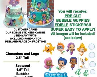 Bubble Guppies Edible PRE CUT Stickers, Bubble Guppies Edible Sticker Cake Decoration, Pre Cut Edible Stickers, Decal Transfers, Guppy Cake