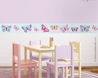 Butterflies Wall Border, Butterfly Border Wall Decal, Repositionable Butterflies  Wall Border, Nursery Decor