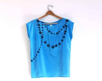 Sale Hand painted silk top.  Ink Beads on Sky Blue // readymade