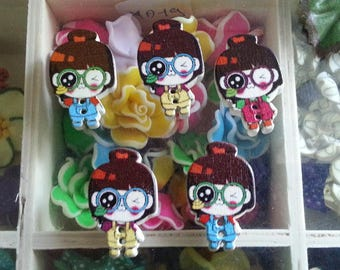 5 buttons wooden print girl 2-hole, dyed, multicolor, 29 x 19 x 5 mm, hole: 2 mm