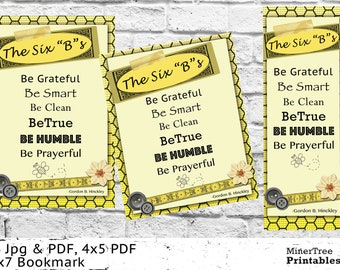 The Six B's by Gordon B. Hinckley, LDS Printables, Printable Bookmark, LDS Handout, Printable Handout