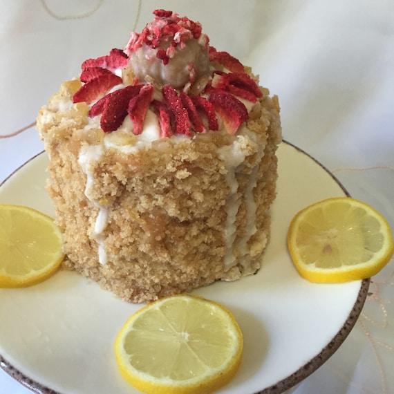 Vegan Gluten Free Mini Lemon Vanilla Strawberry birthday cake!