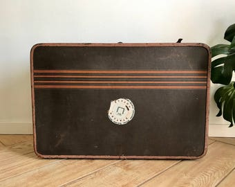 Vintage Rustic Suitcase - Antique Canvas + Leather Striped Luggage with Hotel Stickers - Old 50's Travel Case Bag with Purple Shiny Interior