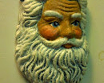Santa Head Magnet with Holly on Cap