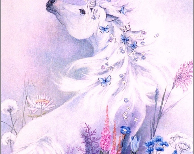 BLUE ENCHANTMENT - UNICORN; Print,  two colors, pink and blue, flowers, butterflies, fantasy, pastel colors