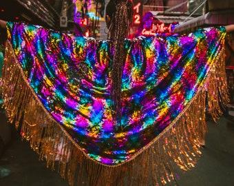 Festival Clothing, Rainbow, Kimono Cape, Fringe Coverup, Sequin Coverup, Boho Kimono, Kimono Robe, Festival Wear, Pole Dance, One of a Kind