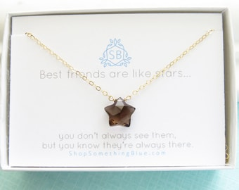 Best Friend Gift • Star Shaped Smoky Quartz Necklace • Faceted Star Charm • Unique Gemstone • Lucky Star • BFF Necklace • Gemstone Star