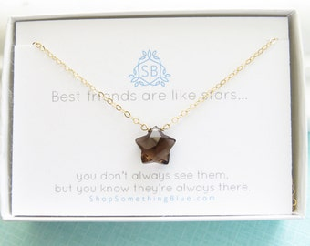 Meilleur ami cadeau • étoile Quartz fumé en forme collier • breloque étoile à facettes • Unique de pierres précieuses • Lucky Star • BFF collier • Pierre Star