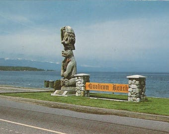 Vintage 1960s Postcard Vancouver Island British Columbia BC Canada Qualicum Beach Totem Pole Sign Ocean View Photochrome Postally Unused