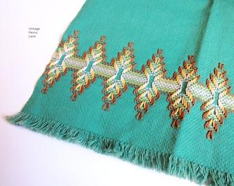 Vintage Embroidered Green Dish Cloth, Hand Towel, Tea Towel