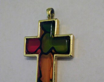 Gold Set Stained Glass Cross Pendant