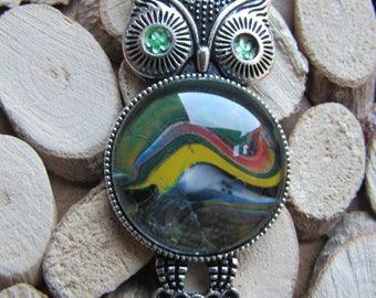 Original Acrylic Paint Owl (Rainbow Mountains)