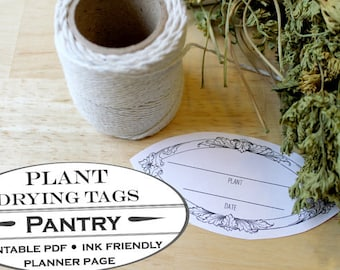 Dried Herb and Plant Hang Tag Labels - Printable Garden Planner Page for Garden Journals