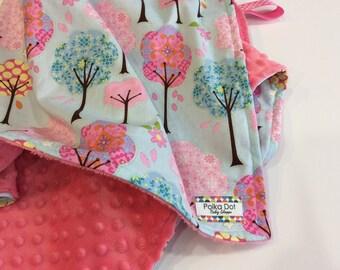 Minky Blanket - Baby Girl Minky Blanket - Crib Blanket - Personalized Blanket - Tree Blanket - Cotton Print - Custom Baby - Gift Wrapped