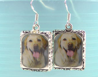 Yellow Lab White Labrador Dog 3D Puppy Picture Earrings Pet Silver in Dimensional