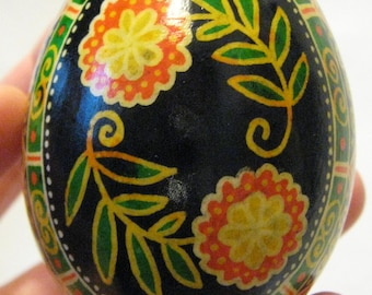 Pysanka with Orange Flowers