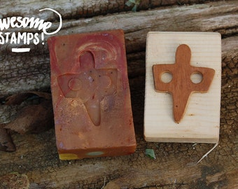 Handcrafted stamp of wood for soap, ceramics, fabric, polymer paste, paper, scrapbook Goddess mother of Senorbì-goddess