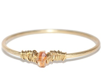 Citrine Crystal Brass Bangle, Hand forged Metal, Manifestation Crystal, Stacking Bracelet, Gypsy, Bohemian, Healing Crystal, Calming, Beauty