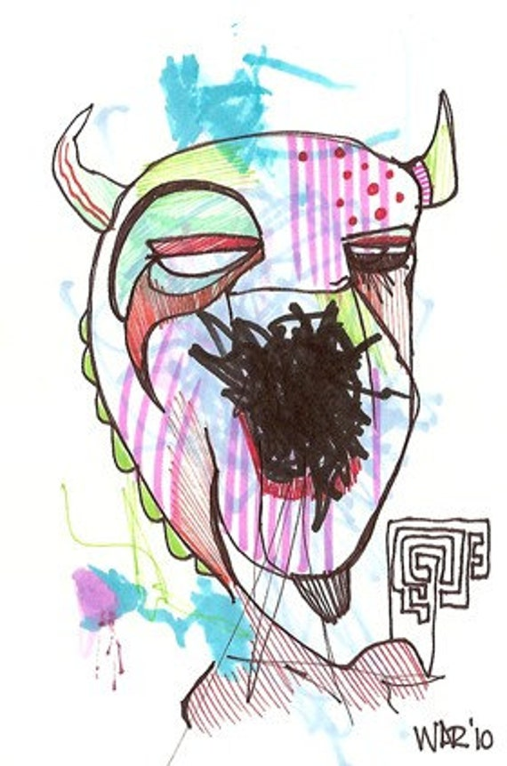 Mouth Full of Ash - Collaboration with my son Jazper - Original Illustration on Bristol
