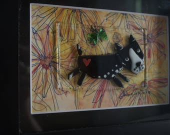 Dog and the butterfly fused glass and watercolor wall art. Mixed media shadow box. Boston Terrier
