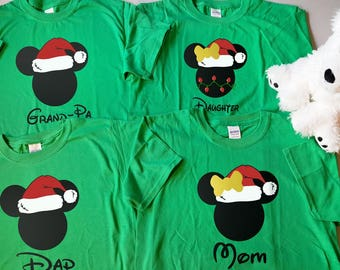 Customizable Mickey and Minnie Ears with Santa Hat Family Christmas Holiday Theme with Optional Back Personalization - Short Sleeve T-shirts