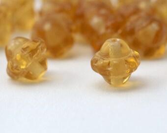 Czech Glass Yellow Lantern Saucer Beads 8mm (16)