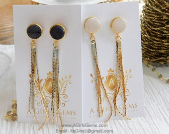 White or Black Druzy 16 k Gold Plated Tassel Dangle Earrings Gold Plated Tassel Earrings