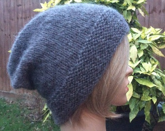 Wool & Alpaca blend knitted slouchy beanie hat sizes L XL grey colour